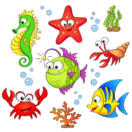 흰색 배경에 고립 된 귀여운 만화 바다 동물의 집합