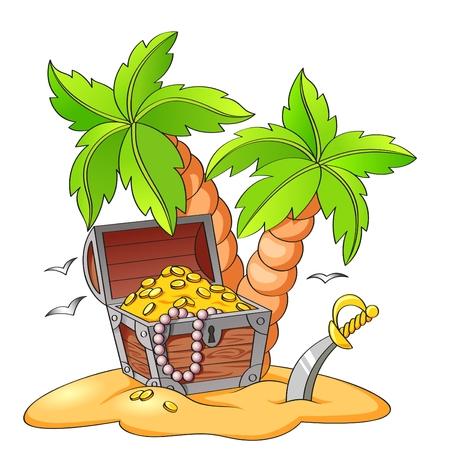 pirata: Cofre del tesoro del pirata en la playa desierta con palmeras Vectores