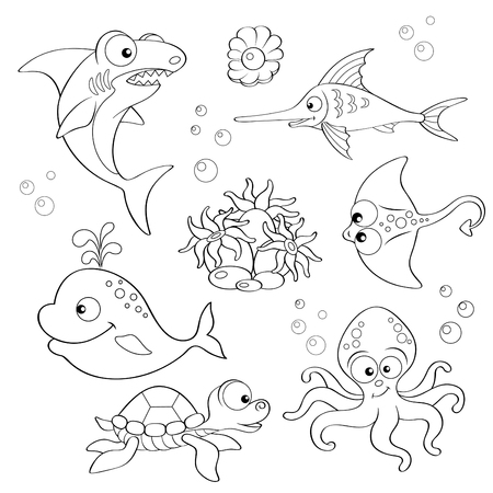 bubble sea anemone: Set of cute cartoon sea animals. Black and white illustration for coloring book