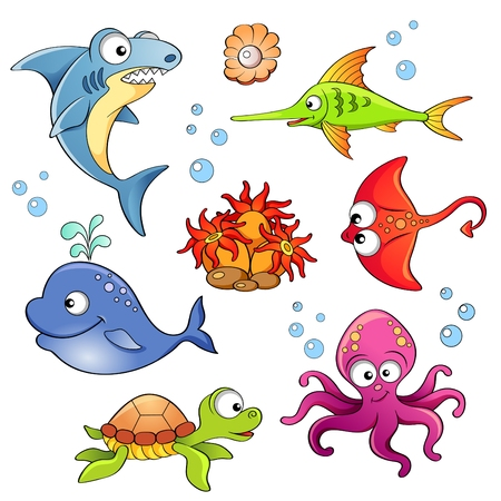 bubble sea anemone: Set of cute cartoon sea animals isolated on white background