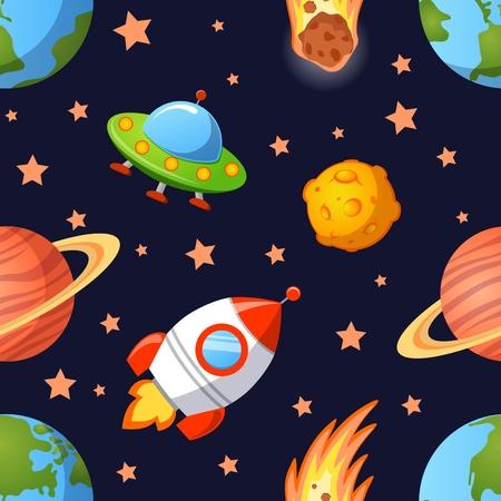 惑星、UFO、幼稚なシームレスな空間パターンのロケットし、星
