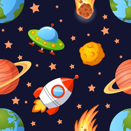 seamless sky: Childish seamless space pattern with planets, UFO, rockets and stars