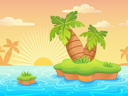 deserted: Seamless landscape with cartoon deserted beach and palm trees Illustration