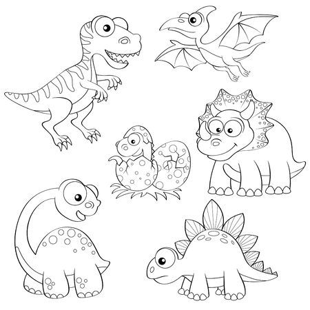 Set of cartoon dinosaurs. Black and white illustration for coloring book Vettoriali