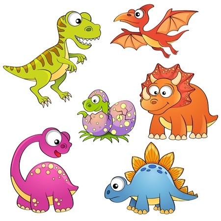 dinosaur cute: Set of cartoon dinosaurs