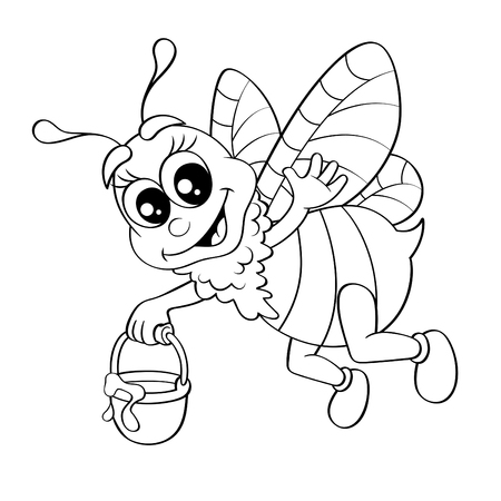 honey comb: Cartoon bee flying with bucket honey. Black and white illustration for coloring book