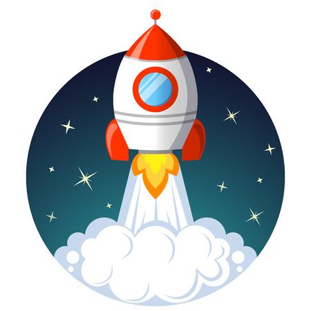 ロケット打ち上げ。スタートアップのコンセプト  イラスト・ベクター素材
