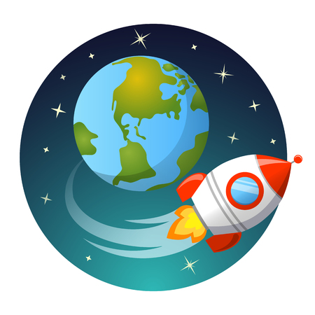 Rocket launch. Rocket flying around Earth. Startup concept Vettoriali