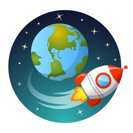Rocket launch. Rocket flying around Earth. Startup concept Illustration