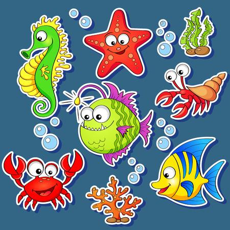 Stickers of cute cartoon sea animals 일러스트