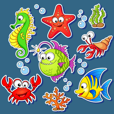 Stickers of cute cartoon sea animals Vettoriali