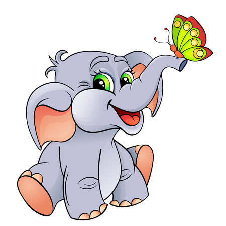Grappige cartoon baby olifant met vlinder