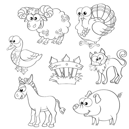 pig tails: Set of cute cartoon farm animals. Sheep, turkey, duck, cat, donkey, pig and fence. Black and white vector illustration for coloring book