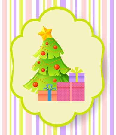 snow landscape: Christmas and New Year greeting card with Christmas tree and gifts