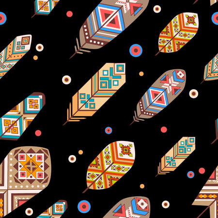redskin: Seamless pattern with ethnic feathers. Colored decorative feathers on black background