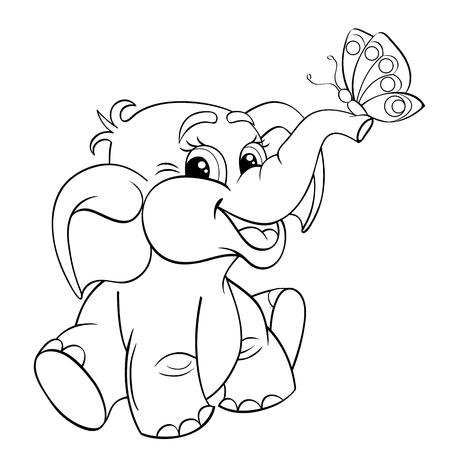 bebé elefante de dibujos animados divertido con la mariposa. Ejemplo blanco y negro del vector de libro para colorear