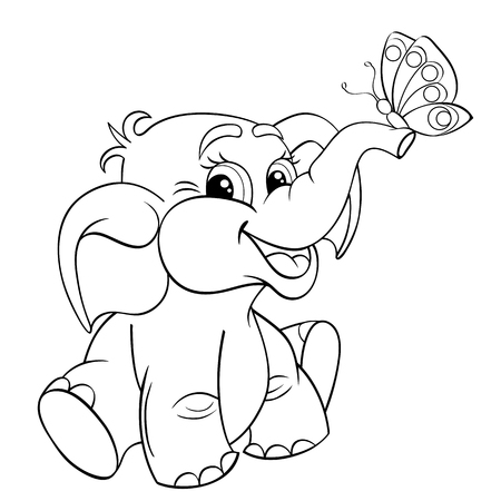 Funny cartoon baby elephant with butterfly. Black and white vector illustration for coloring book