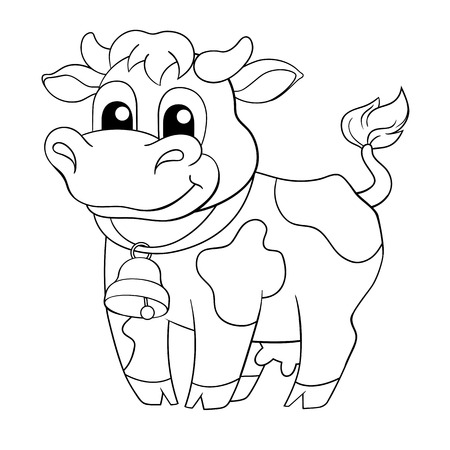 cow bells: Funny cartoon cow. Black and white illustration for coloring book