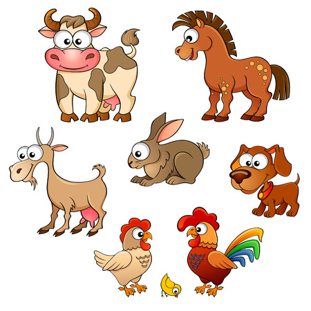 Set of cute cartoon farm animals. Horse, cow, goat, rabbit, dog, hen, cock and chick