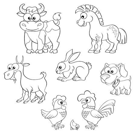 farm animals: Set of cute cartoon farm animals. Horse, cow, goat, rabbit, dog, hen, cock and chick. Vector illustration for coloring book
