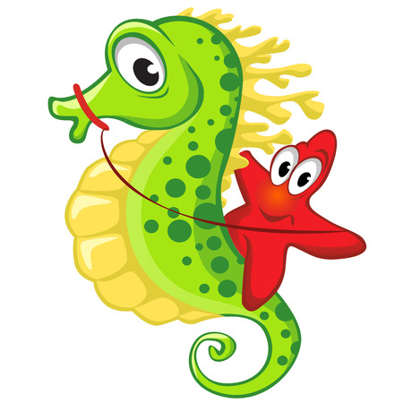 해마에 귀여운 만화 불가사리를 타고