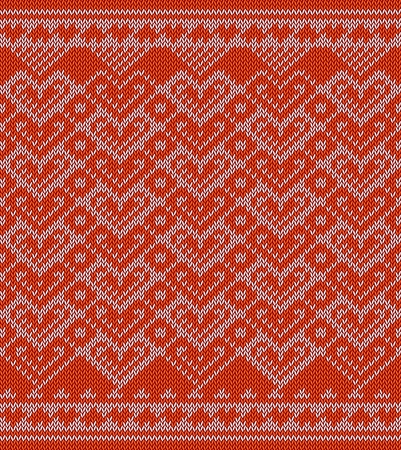 valentin: Knitted pattern with hearts. Background for Valentin es Day Illustration