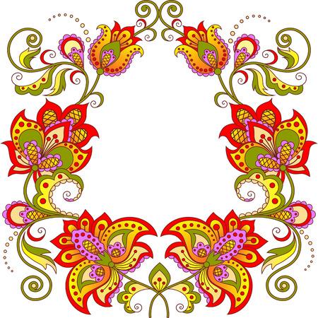oval frame: Ornamental floral oval frame Illustration
