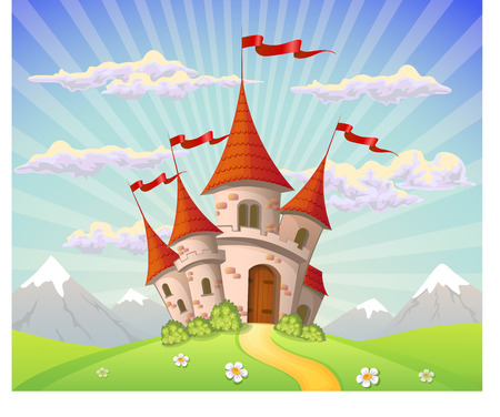 mountain cartoon: Landscape with castle on hill and mountains Illustration