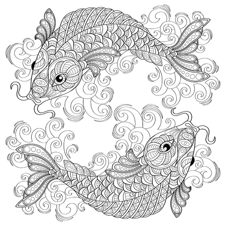 Koi fish. Chinese carps. Pisces. Adult antistress coloring page. Black and white hand drawn doodle for coloring book