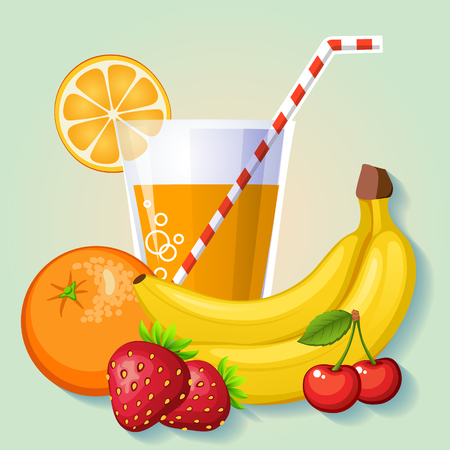 Fresh fruit juice from orange, banana, cherry and strawberry