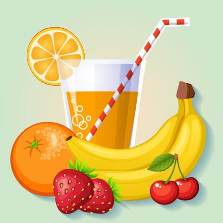 jugo de frutas: jugo de fruta fresca de naranja, plátano, cereza y fresa Vectores