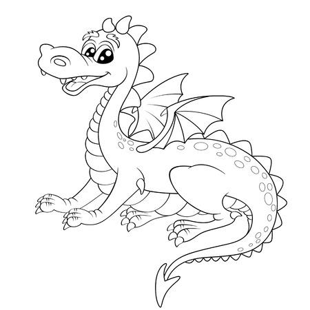 Cute cartoon dragon. Illustration for coloring book
