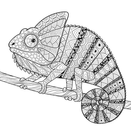 Chameleon. Adult antistress coloring page. Black and white hand drawn doodle for coloring book Vettoriali