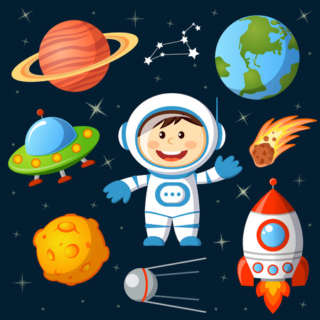 luna caricatura: Conjunto de elementos de espacio. Astronauta, tierra, saturno, luna, UFO, cohetes, cometas, constelaciones, estrellas y sputnik Vectores