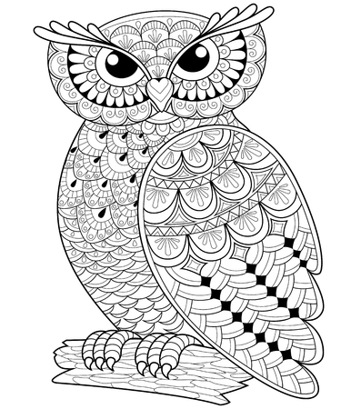 owl illustration: Decorative owl. Adult anti-stress coloring page. Black and white hand drawn illustration for coloring book