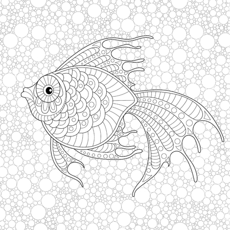 Golden Fish Adult Antistress Coloring Page Black And White Doodle For Book Vector