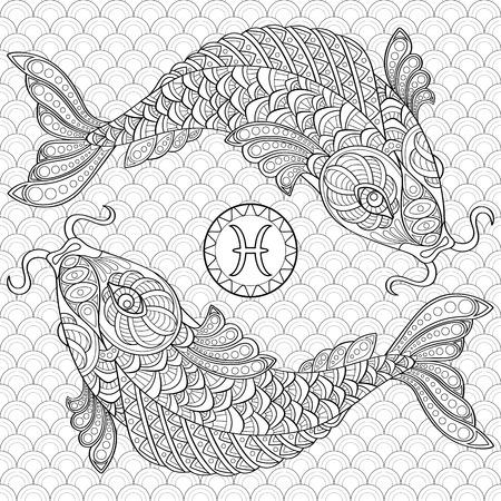 Pesci. Pesce koi. carpe cinesi. Adulti colorare antistress. Doodle in bianco e nero per il libro da colorare Vettoriali