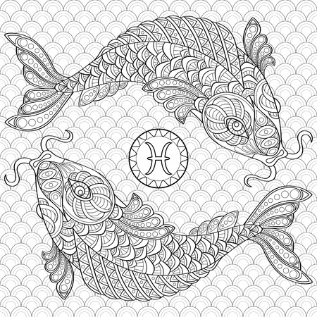 Pisces. Koi fish. Chinese carps. Adult antistress coloring page. Black and white doodle for coloring book Illustration