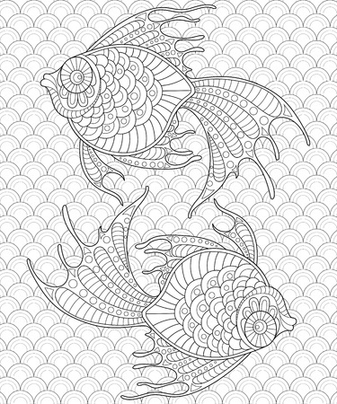 antistress: Golden fish. Pisces. Adult antistress coloring page. Black and white  doodle for coloring book Illustration