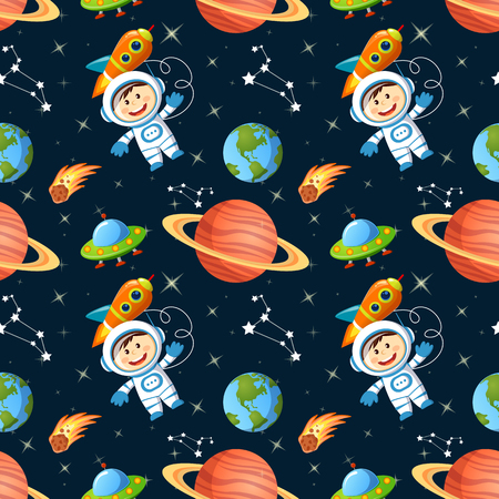 Childish seamless space pattern with astronaut, Earth, saturn, UFO, rockets and stars Illustration