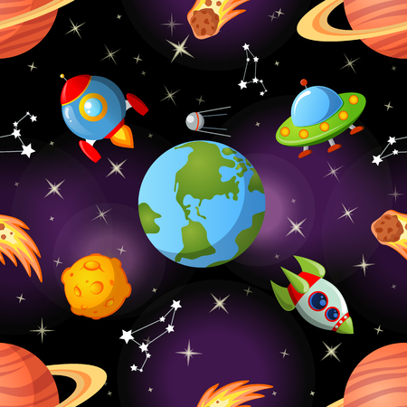 Childish seamless space pattern with Earth, saturn, UFO, rockets moon and stars Ilustração