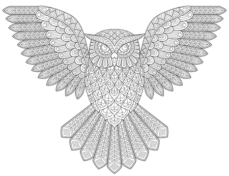 Flying owl. Adult antistress coloring page. Black and white illustration for coloring book