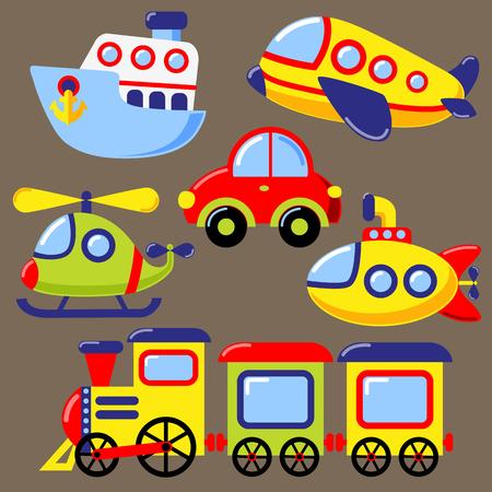 Conjunto de icono de transporte de la historieta. Coche, submarino, barco, avión, tren, helicóptero Ilustración de vector