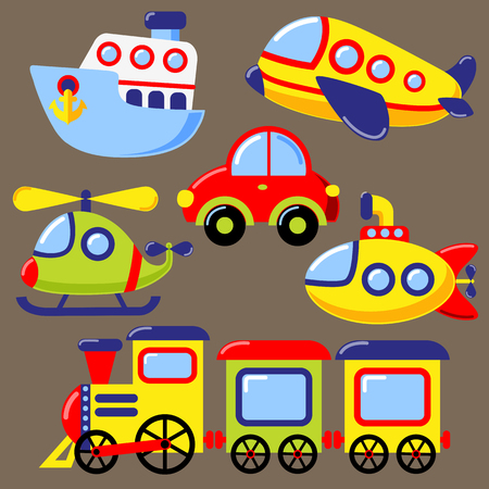 Set of cartoon transport icon. Car, submarine, ship, plane, train, helicopter Illustration