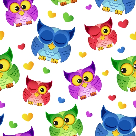 Seamless pattern with cartoon owls and hearts