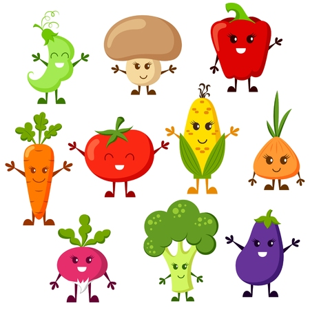 corne: Cartoon vegetable characters. Tomato, broccoli, eggplant, peppers, carrots, onion, radish, corn, peas, champignon