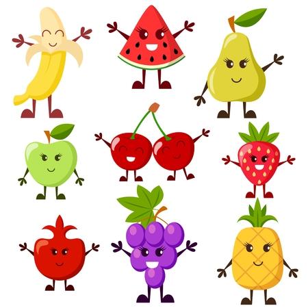 Fruta personajes de dibujos animados. Uva, sandía, manzana, fresa, plátano, cereza, pera, piña, granate Foto de archivo - 63133819