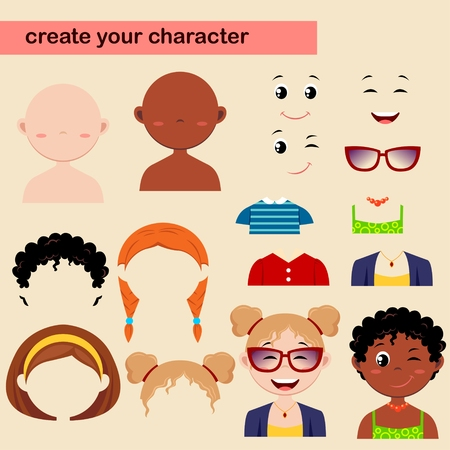 constructor: Constructor of girl characters. Create your avatar Illustration