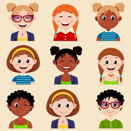 girl glasses: Set of cute girl characters with different hairstyle and clothes. Girls avatar