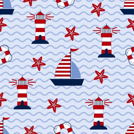 marine ship: Marine seamless pattern with ship, starfish, lighthouse and lifebuoy. Sea and wave theme